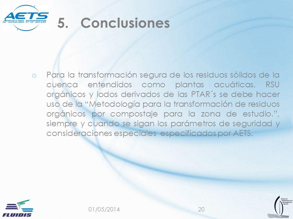 01/05/201420 o Para la transformación segura de los residuos sólidos de la cuenca entendidos como plantas acuáticas, RSU orgánicos y lodos derivados d