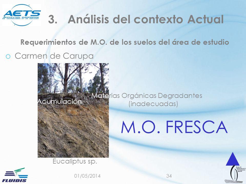 01/05/201434 Requerimientos de M.O. de los suelos del área de estudio oCarmen de Carupa 3.Análisis del contexto Actual Eucaliptus sp. Materias Orgánic