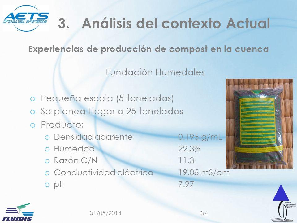 01/05/201437 Experiencias de producción de compost en la cuenca Fundación Humedales oPequeña escala (5 toneladas) oSe planea Llegar a 25 toneladas oProducto: oDensidad aparente 0.195 g/mL oHumedad 22.3% oRazón C/N 11.3 oConductividad eléctrica 19.05 mS/cm opH7.97 3.Análisis del contexto Actual