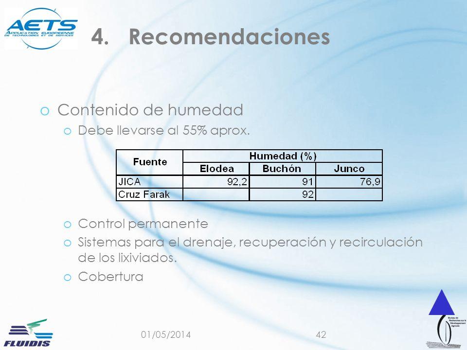 01/05/201442 oContenido de humedad oDebe llevarse al 55% aprox. oControl permanente oSistemas para el drenaje, recuperación y recirculación de los lix