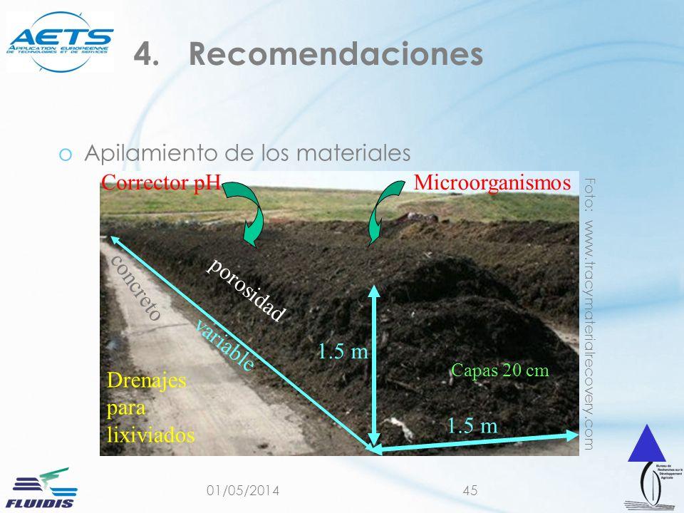 01/05/201445 4.Recomendaciones oApilamiento de los materiales Foto: www.tracymaterialrecovery.com Capas 20 cm Microorganismos 1.5 m variable Corrector pH porosidad Drenajes para lixiviados concreto