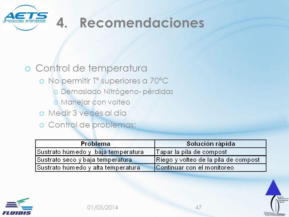 01/05/201447 oControl de temperatura oNo permitir Tº superiores a 70ºC oDemasiado Nitrógeno- pérdidas oManejar con volteo oMedir 3 veces al día oControl de problemas: 4.Recomendaciones