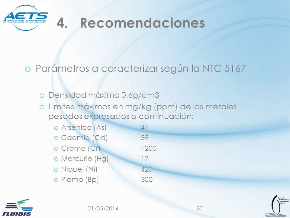 01/05/201450 oParámetros a caracterizar según la NTC 5167 oDensidad máximo 0.6g/cm3 oLimites máximos en mg/kg (ppm) de los metales pesados expresados a continuación: oArsénico (As)41 oCadmio (Cd)39 oCromo (Cr)1200 oMercurio (Hg)17 oNiquel (Ni)420 oPlomo (Bp)300 4.Recomendaciones