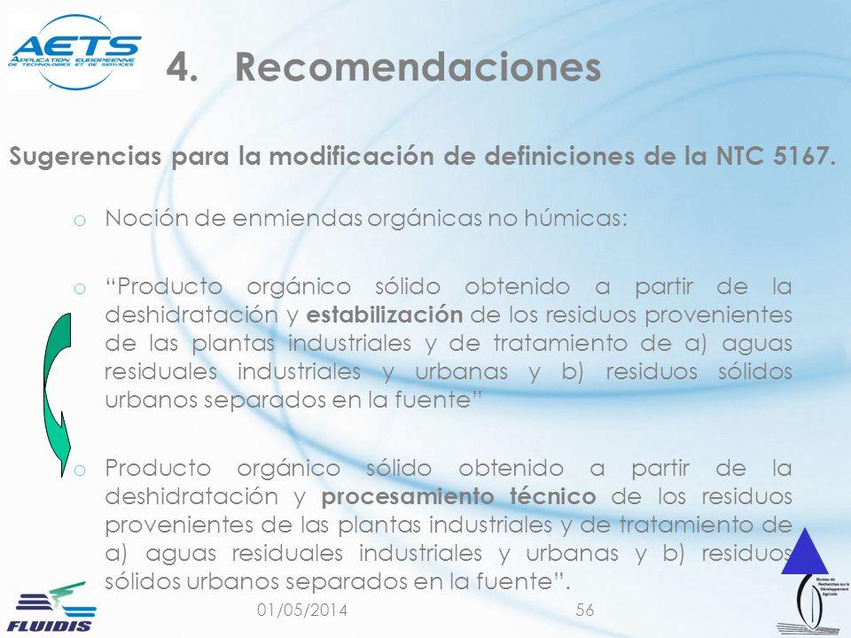 01/05/201456 Sugerencias para la modificación de definiciones de la NTC 5167. o Noción de enmiendas orgánicas no húmicas: o Producto orgánico sólido o