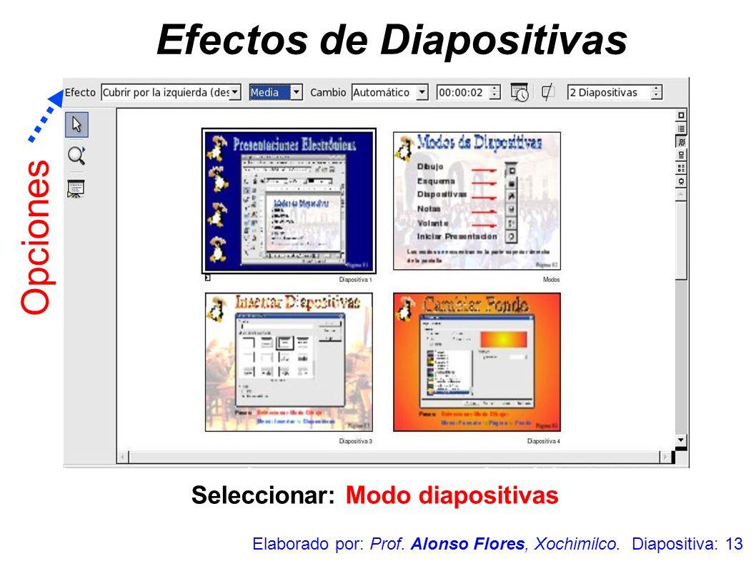 Seleccionar: Modo diapositivas Efectos de Diapositivas Elaborado por: Prof. Alonso Flores, Xochimilco. Diapositiva: 13 Opciones