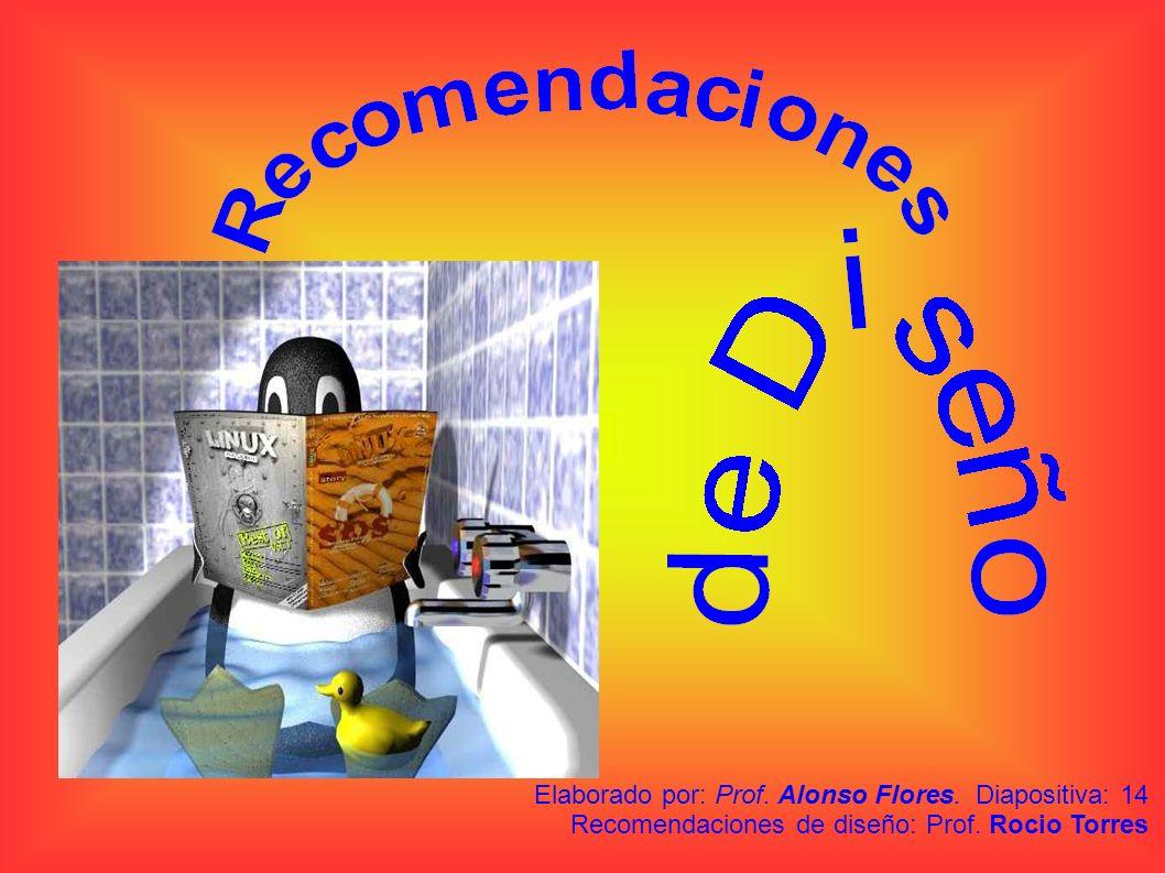Elaborado por: Prof. Alonso Flores. Diapositiva: 14 Recomendaciones de diseño: Prof. Rocio Torres