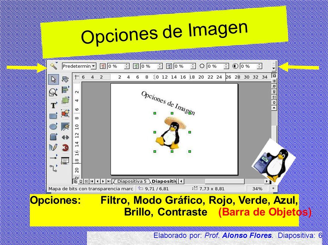 Opciones de Imagen Opciones: Filtro, Modo Gráfico, Rojo, Verde, Azul, Brillo, Contraste(Barra de Objetos) Elaborado por: Prof. Alonso Flores. Diaposit