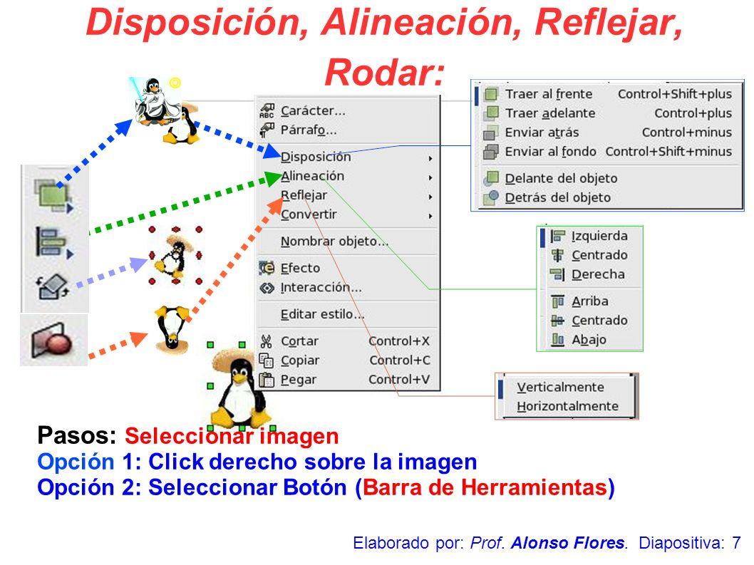 Pasos: Seleccionar imagen Opción 1: Click derecho sobre la imagen Opción 2: Seleccionar Botón (Barra de Herramientas) Disposición, Alineación, Refleja