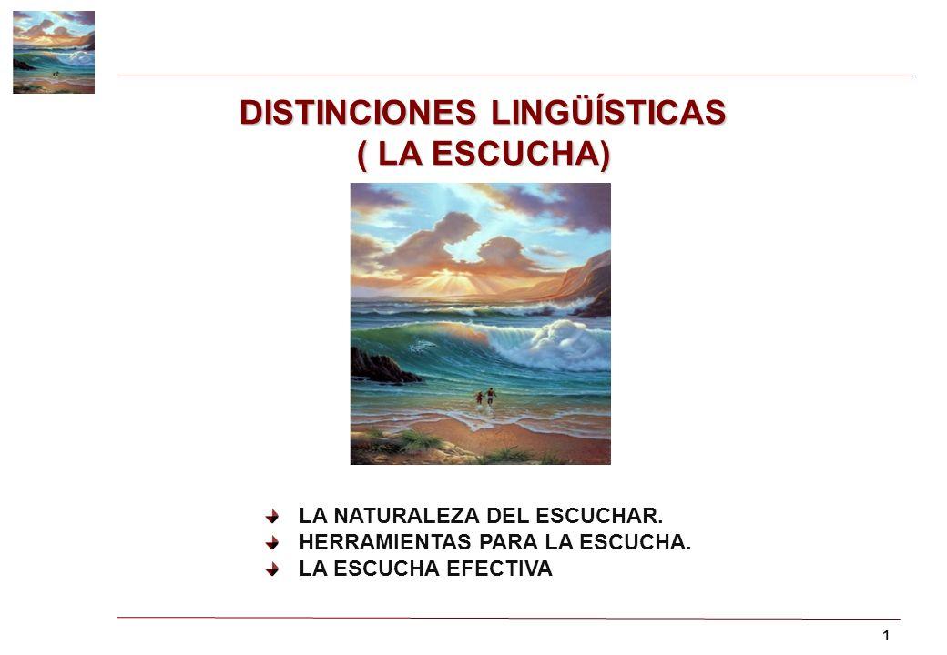 1 DISTINCIONES LINGÜÍSTICAS ( LA ESCUCHA) LA NATURALEZA DEL ESCUCHAR. HERRAMIENTAS PARA LA ESCUCHA. LA ESCUCHA EFECTIVA