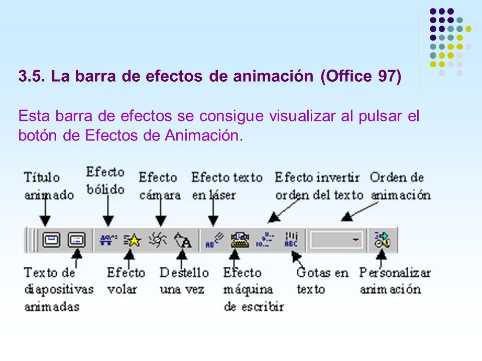 3.5. La barra de efectos de animación (Office 97) Esta barra de efectos se consigue visualizar al pulsar el botón de Efectos de Animación.