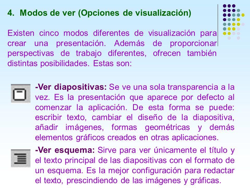 4. Modos de ver (Opciones de visualización) Existen cinco modos diferentes de visualización para crear una presentación. Además de proporcionar perspe