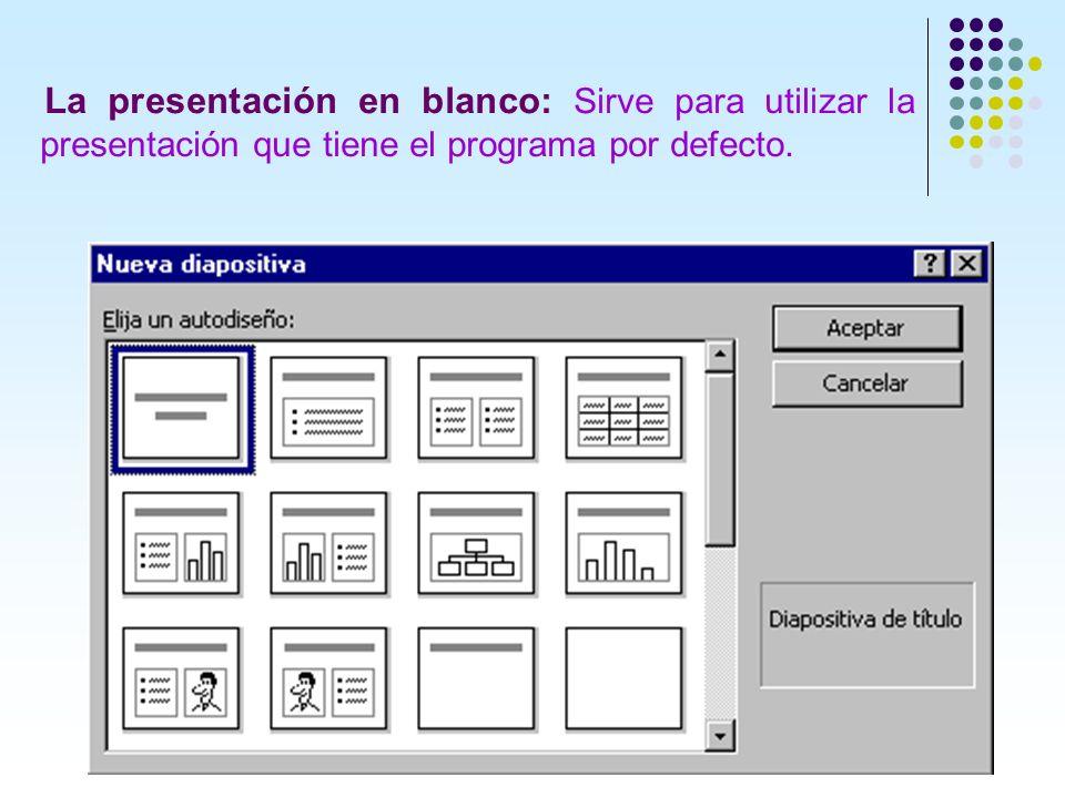 La presentación en blanco: Sirve para utilizar la presentación que tiene el programa por defecto.