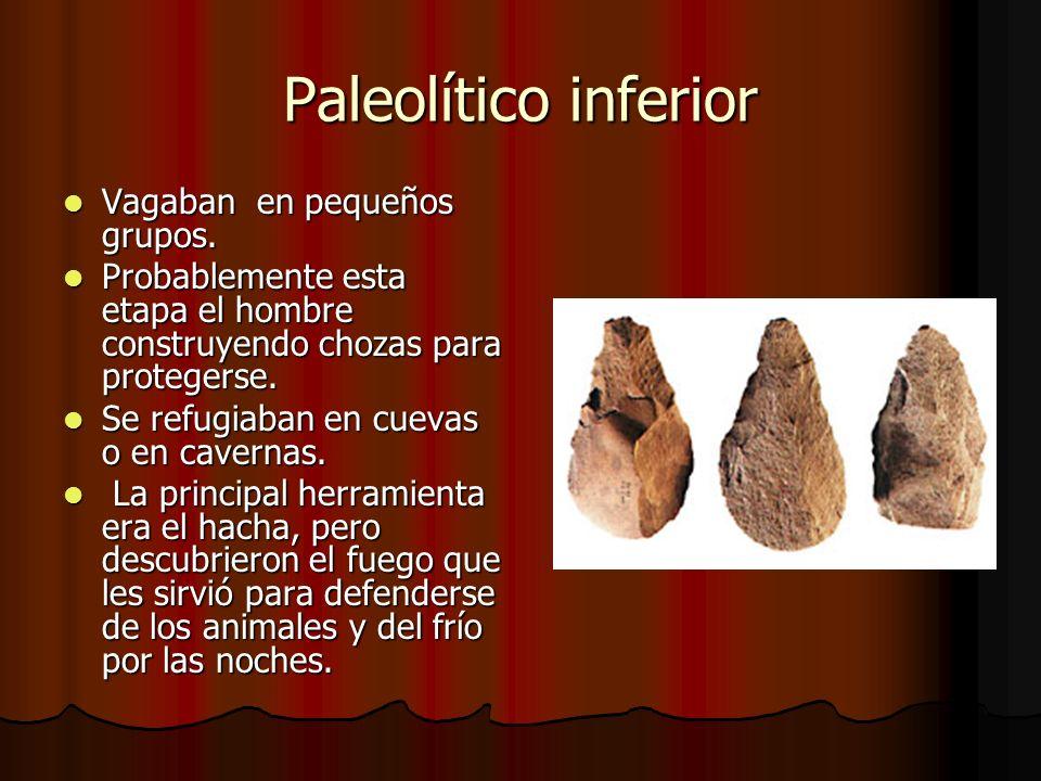 Paleolítico inferior Vagaban en pequeños grupos. Vagaban en pequeños grupos. Probablemente esta etapa el hombre construyendo chozas para protegerse. P