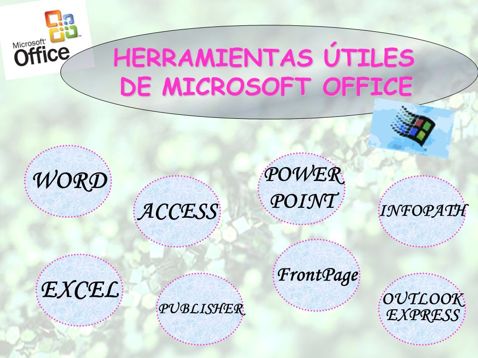 HERRAMIENTAS ÚTILES DE MICROSOFT OFFICE WORD EXCEL ACCESS PUBLISHER POWER POINT FrontPage INFOPATH OUTLOOK EXPRESS