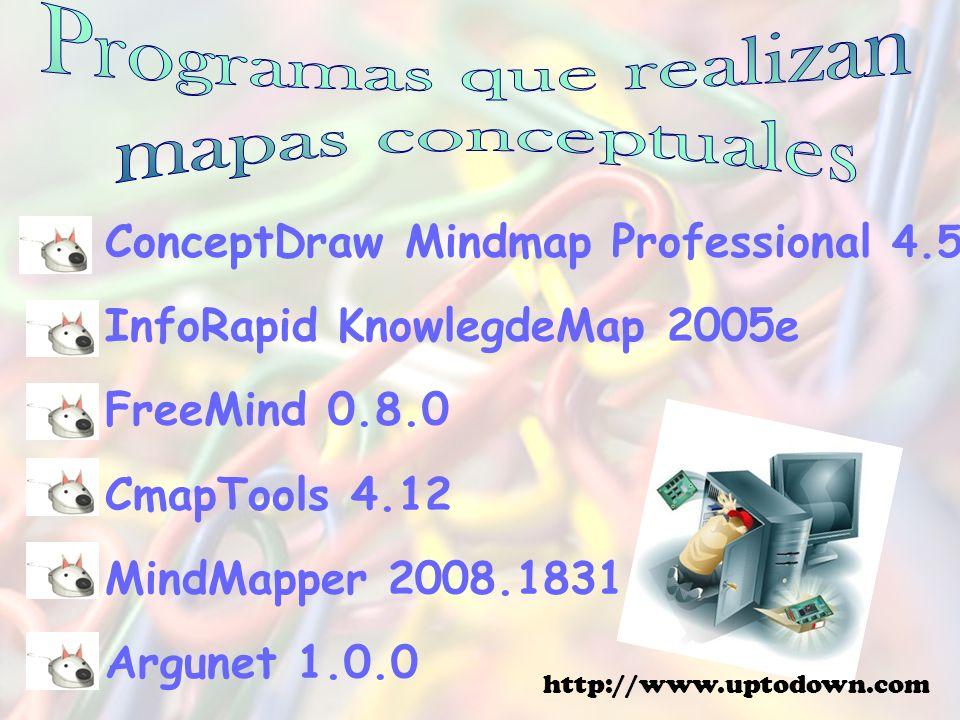 ConceptDraw Mindmap Professional 4.5 InfoRapid KnowlegdeMap 2005e FreeMind 0.8.0 CmapTools 4.12 MindMapper 2008.1831 Argunet 1.0.0 http://www.uptodown