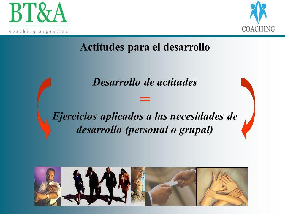 Actitudes para el desarrollo Desarrollo de actitudes = Ejercicios aplicados a las necesidades de desarrollo (personal o grupal)