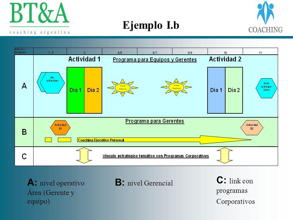 A: nivel operativo Área (Gerente y equipo) B: nivel Gerencial C: link con programas Corporativos Ejemplo I.b