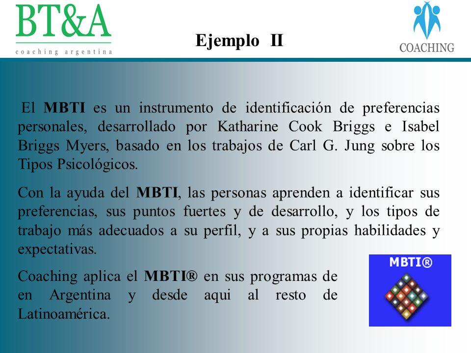 Ejemplo II El MBTI es un instrumento de identificación de preferencias personales, desarrollado por Katharine Cook Briggs e Isabel Briggs Myers, basad