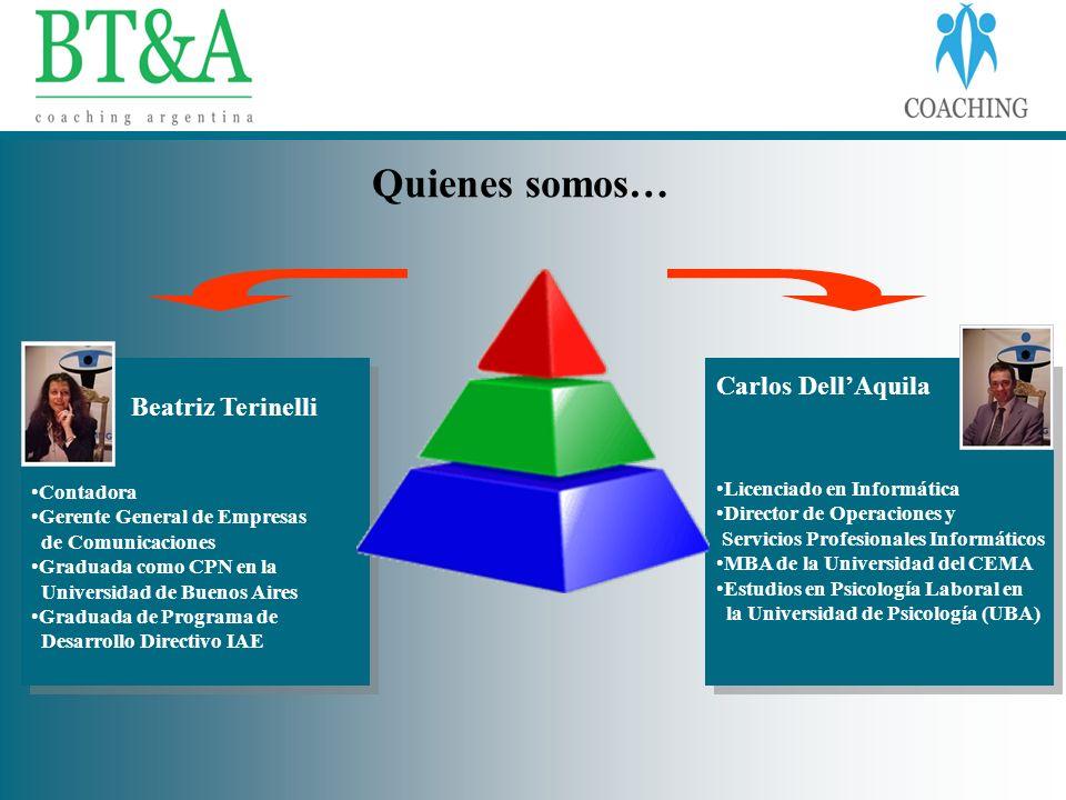 Beatriz Terinelli Contadora Gerente General de Empresas de Comunicaciones Graduada como CPN en la Universidad de Buenos Aires Graduada de Programa de