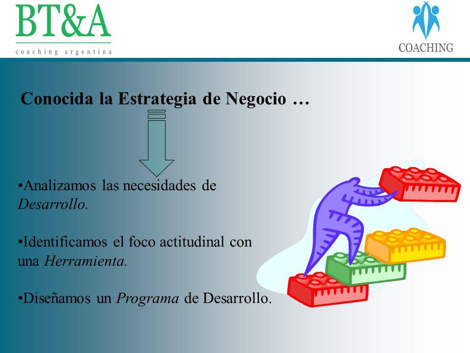 Conocida la Estrategia de Negocio … Analizamos las necesidades de Desarrollo. Identificamos el foco actitudinal con una Herramienta. Diseñamos un Prog