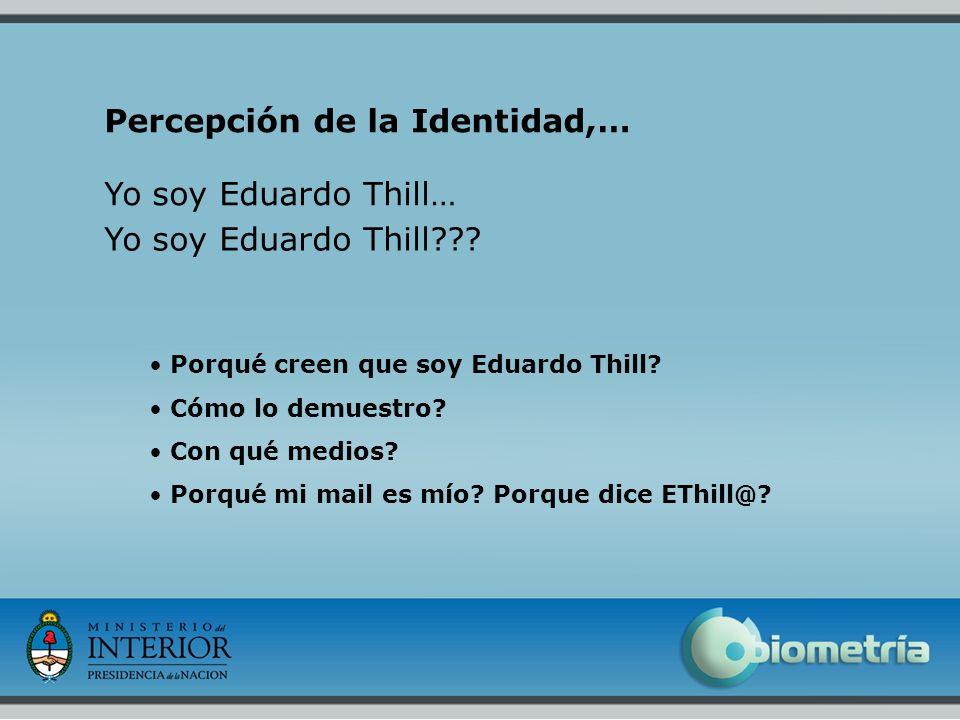 6 Percepción de la Identidad,… Porqué creen que soy Eduardo Thill? Cómo lo demuestro? Con qué medios? Porqué mi mail es mío? Porque dice EThill@? Yo s