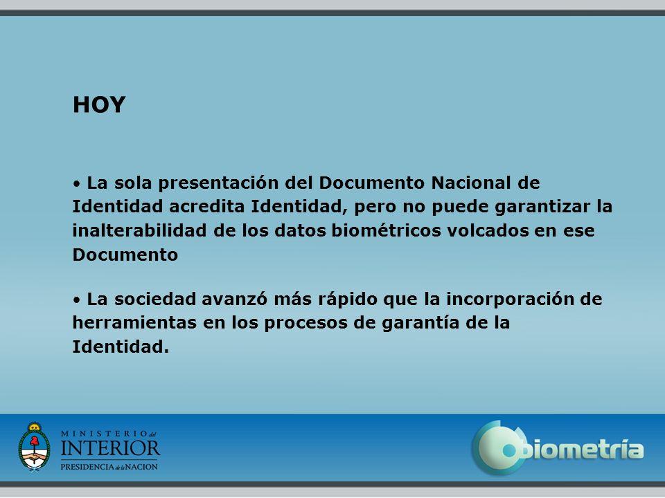 7 HOY La sola presentación del Documento Nacional de Identidad acredita Identidad, pero no puede garantizar la inalterabilidad de los datos biométrico