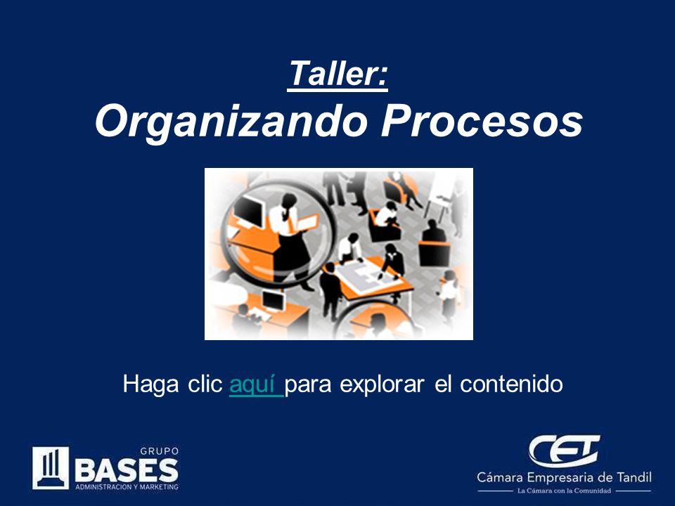 Taller: Organizando Procesos Haga clic aquí para explorar el contenidoaquí