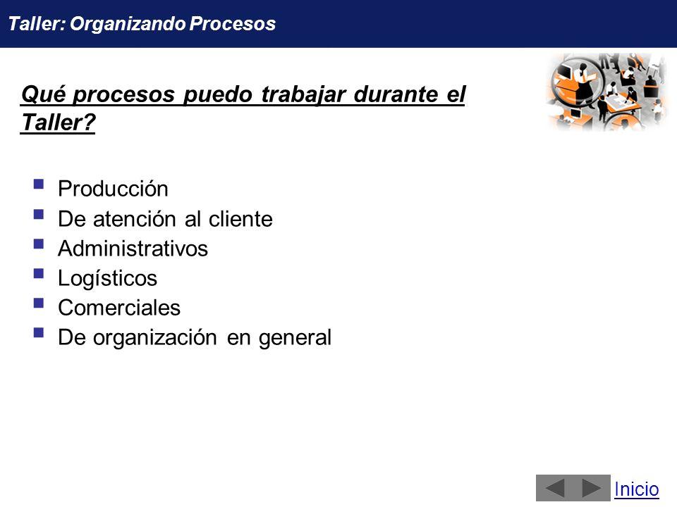 Qué procesos puedo trabajar durante el Taller? Producción De atención al cliente Administrativos Logísticos Comerciales De organización en general Ini
