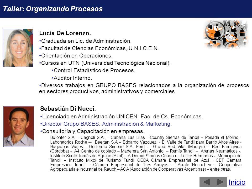 Lucía De Lorenzo. Graduada en Lic. de Administración. Facultad de Ciencias Económicas, U.N.I.C.E.N. Orientación en Operaciones. Cursos en UTN (Univers