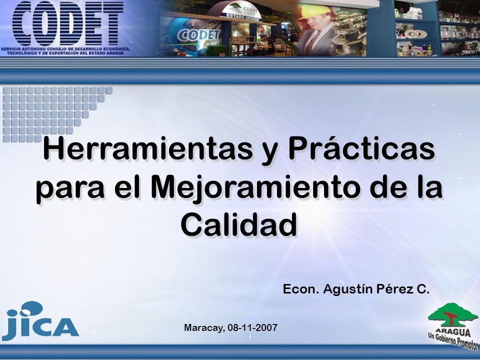 Herramientas y Prácticas para el Mejoramiento de la Calidad Maracay, 08-11-2007 Econ. Agustín Pérez C.
