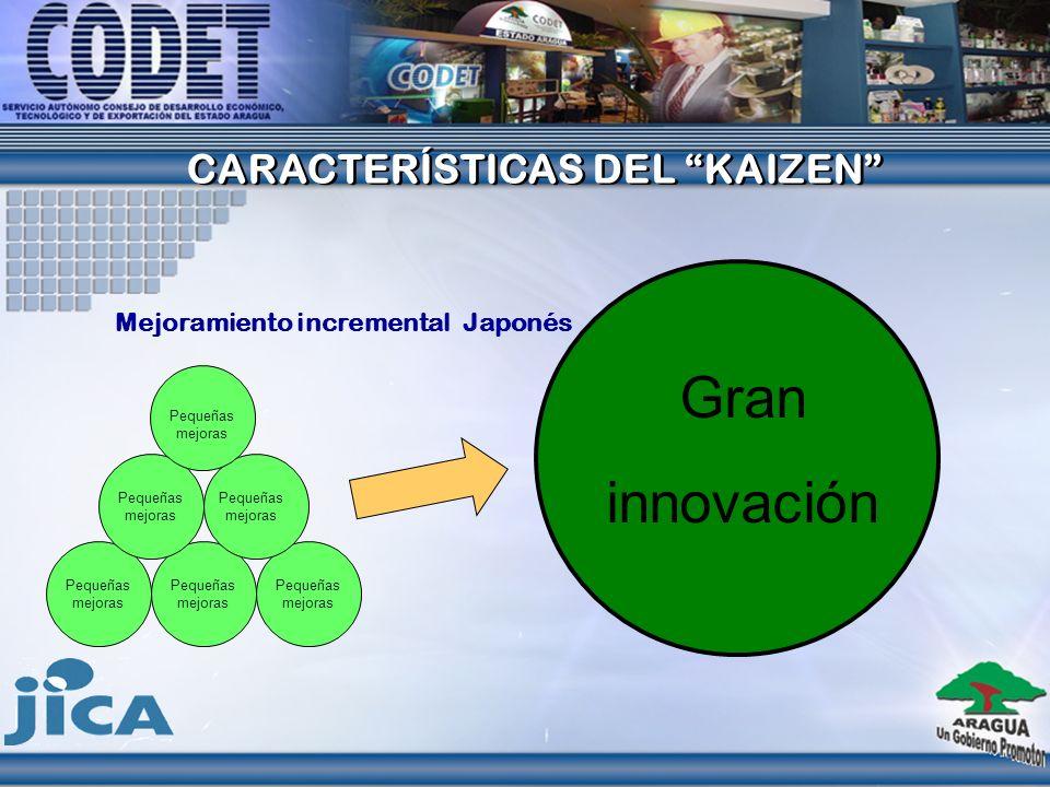 CARACTERÍSTICAS DEL KAIZEN CARACTERÍSTICAS DEL KAIZEN Mejoramiento incremental Japonés Pequeñas mejoras Gran innovación