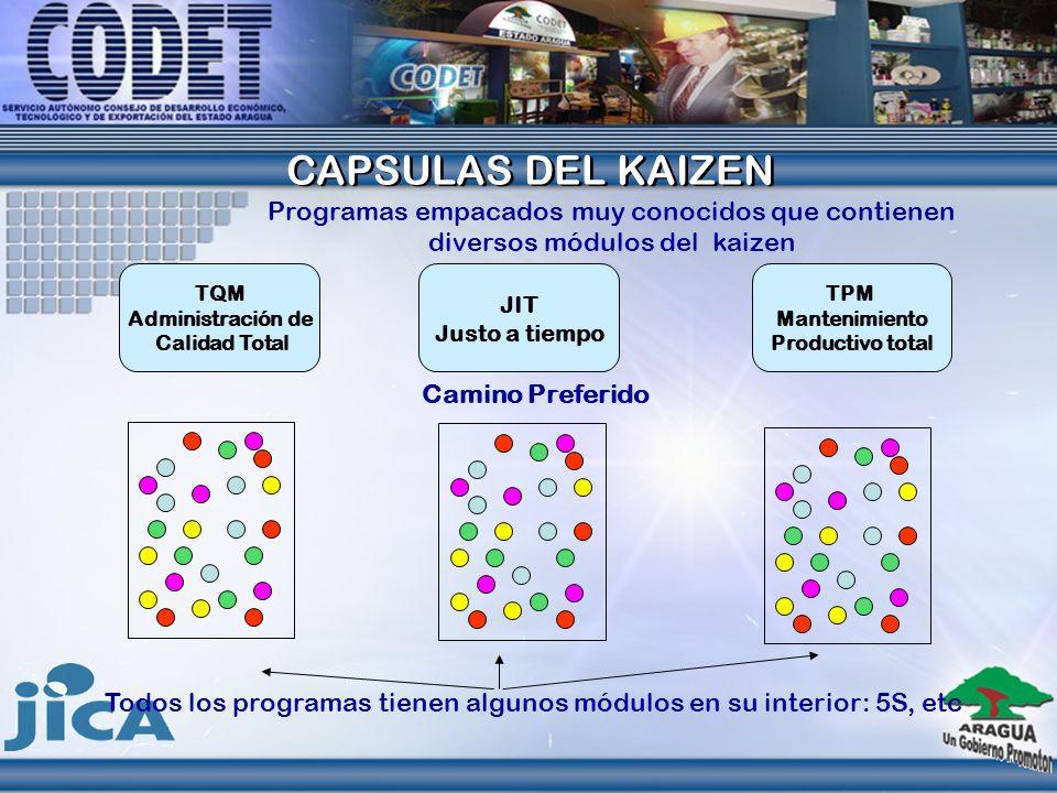CAPSULAS DEL KAIZEN CAPSULAS DEL KAIZEN Programas empacados muy conocidos que contienen diversos módulos del kaizen TQM Administración de Calidad Tota