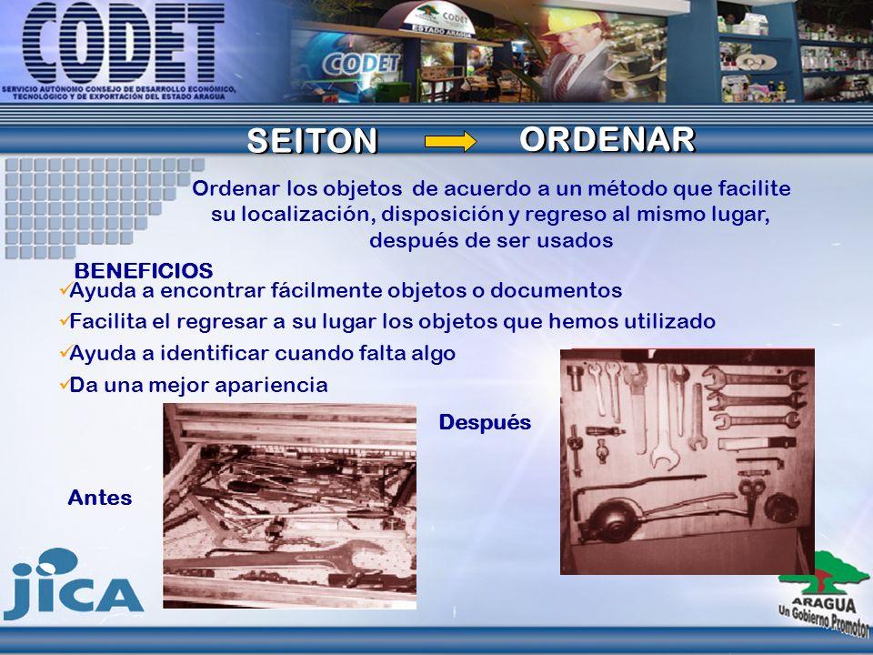 SEITON SEITON ORDENAR ORDENAR Ordenar los objetos de acuerdo a un método que facilite su localización, disposición y regreso al mismo lugar, después d