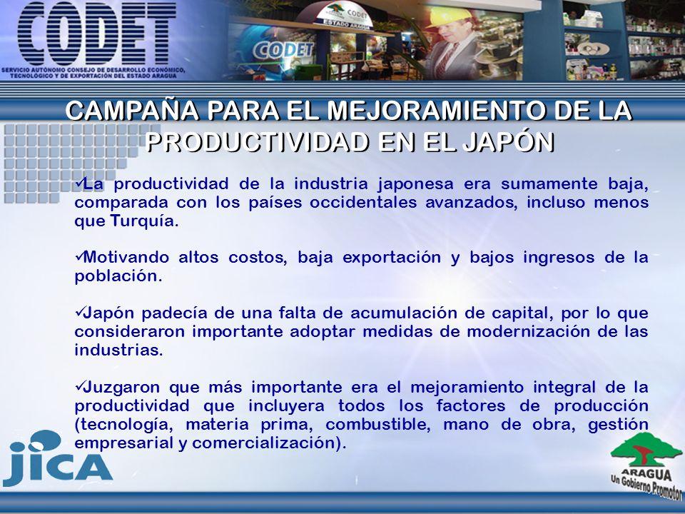 CAMPAÑA PARA EL MEJORAMIENTO DE LA PRODUCTIVIDAD EN EL JAPÓN CAMPAÑA PARA EL MEJORAMIENTO DE LA PRODUCTIVIDAD EN EL JAPÓN La productividad de la indus