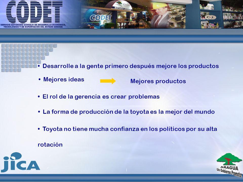 Desarrolle a la gente primero después mejore los productos El rol de la gerencia es crear problemas La forma de producción de la toyota es la mejor de
