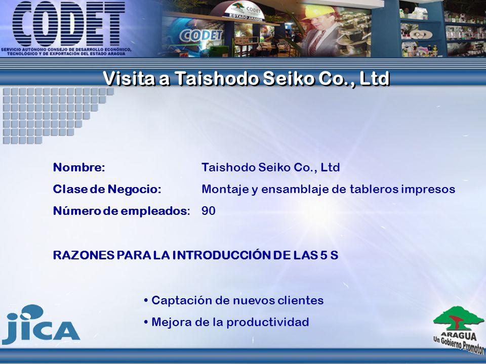 Nombre: Taishodo Seiko Co., Ltd Clase de Negocio: Montaje y ensamblaje de tableros impresos Número de empleados: 90 Captación de nuevos clientes Mejor