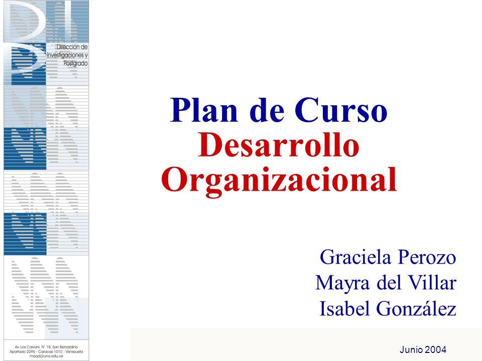 Junio 2004 Plan de Curso Desarrollo Organizacional Graciela Perozo Mayra del Villar Isabel González