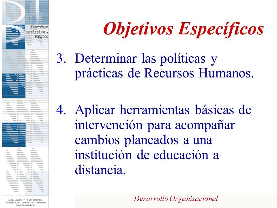 Desarrollo Organizacional Objetivos Específicos 3.Determinar las políticas y prácticas de Recursos Humanos. 4.Aplicar herramientas básicas de interven
