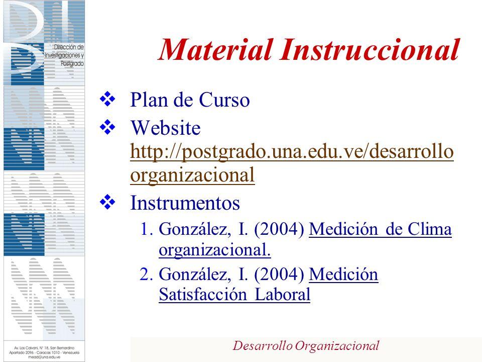 Desarrollo Organizacional Material Instruccional Plan de Curso Website http://postgrado.una.edu.ve/desarrollo organizacional http://postgrado.una.edu.ve/desarrollo organizacional Instrumentos 1.González, I.