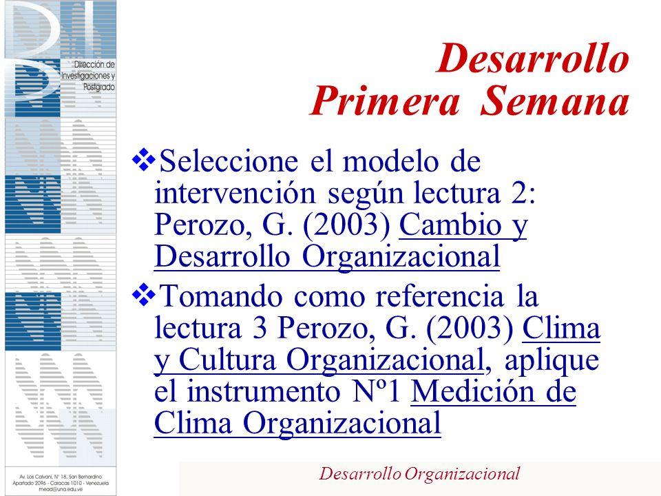 Desarrollo Organizacional Seleccione el modelo de intervención según lectura 2: Perozo, G. (2003) Cambio y Desarrollo Organizacional Tomando como refe
