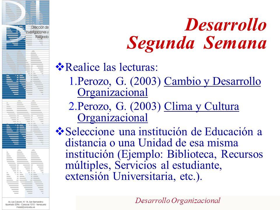 Desarrollo Organizacional Realice las lecturas: 1.Perozo, G. (2003) Cambio y Desarrollo Organizacional 2.Perozo, G. (2003) Clima y Cultura Organizacio