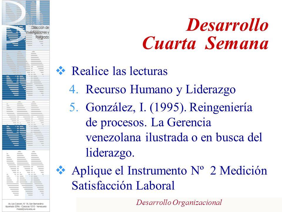 Desarrollo Organizacional Realice las lecturas 4.Recurso Humano y Liderazgo 5.González, I. (1995). Reingeniería de procesos. La Gerencia venezolana il