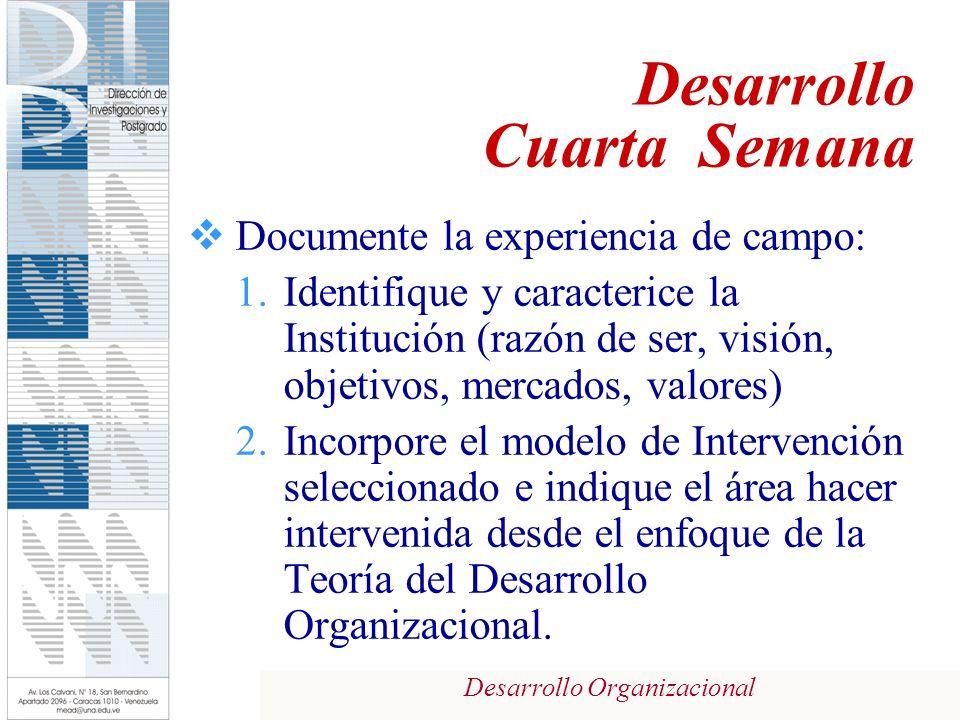 Desarrollo Organizacional Documente la experiencia de campo: 1.Identifique y caracterice la Institución (razón de ser, visión, objetivos, mercados, valores) 2.Incorpore el modelo de Intervención seleccionado e indique el área hacer intervenida desde el enfoque de la Teoría del Desarrollo Organizacional.