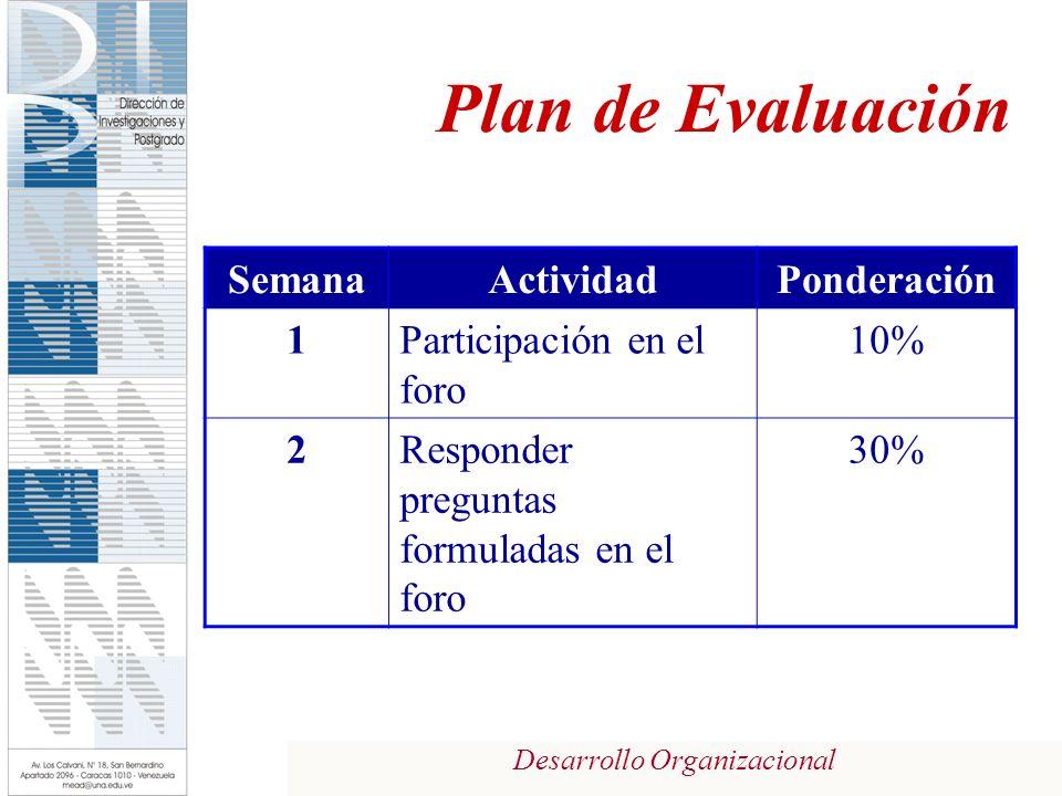 Desarrollo Organizacional Plan de Evaluación SemanaActividadPonderación 1Participación en el foro 10% 2Responder preguntas formuladas en el foro 30%