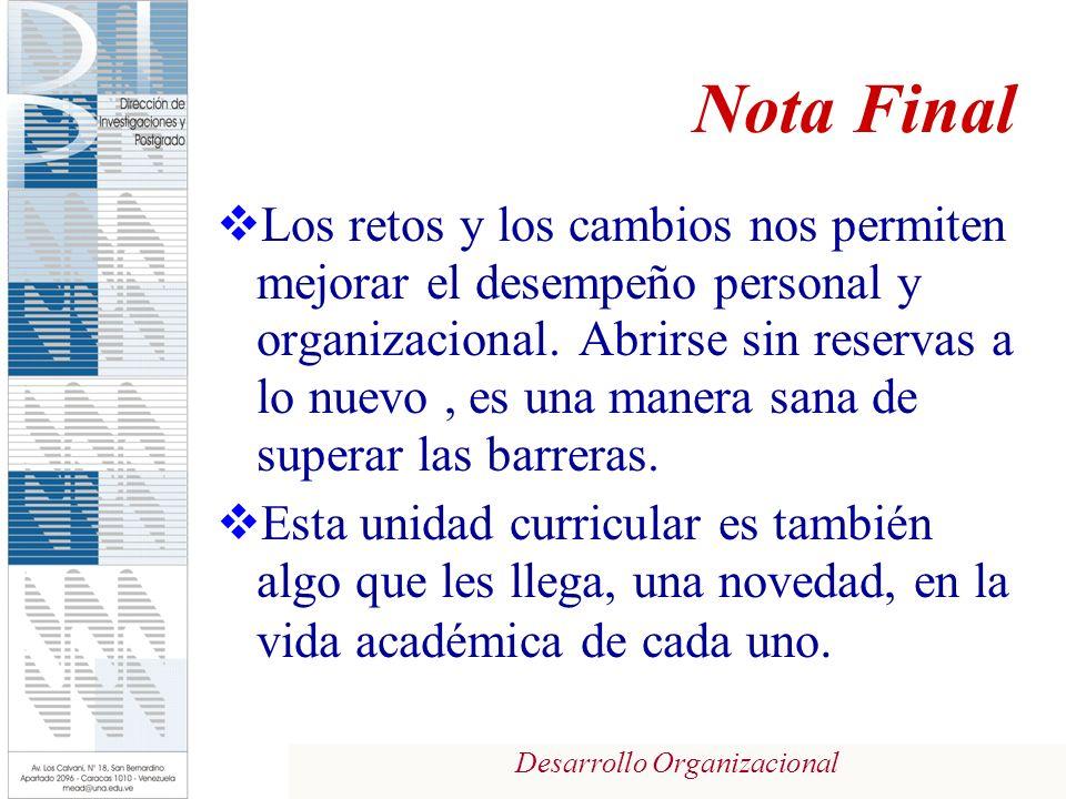 Desarrollo Organizacional Nota Final Los retos y los cambios nos permiten mejorar el desempeño personal y organizacional.