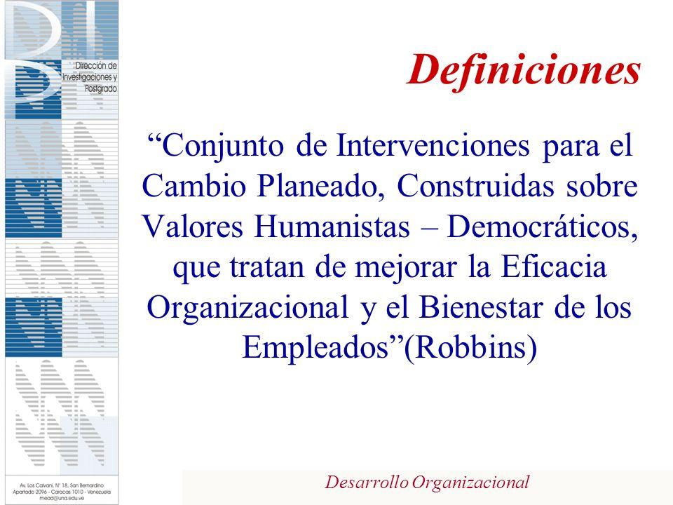 Desarrollo Organizacional Definiciones Conjunto de Intervenciones para el Cambio Planeado, Construidas sobre Valores Humanistas – Democráticos, que tratan de mejorar la Eficacia Organizacional y el Bienestar de los Empleados(Robbins)