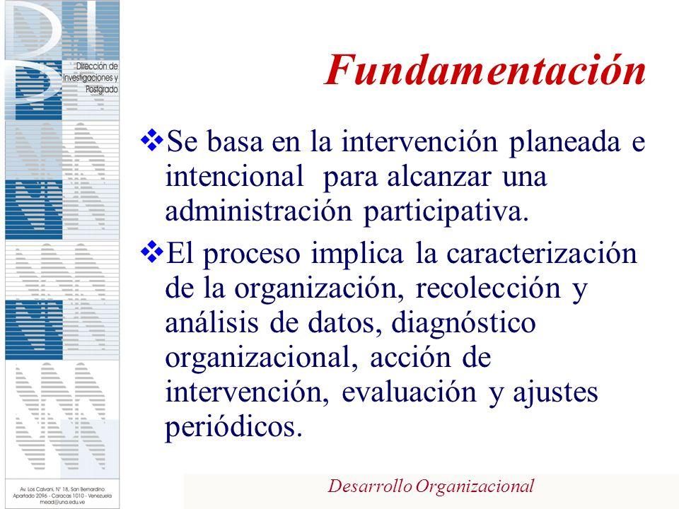 Desarrollo Organizacional Fundamentación Se basa en la intervención planeada e intencional para alcanzar una administración participativa. El proceso
