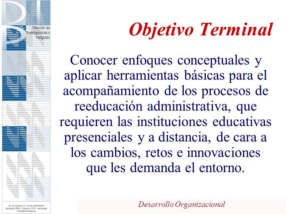 Desarrollo Organizacional Objetivo Terminal Conocer enfoques conceptuales y aplicar herramientas básicas para el acompañamiento de los procesos de ree