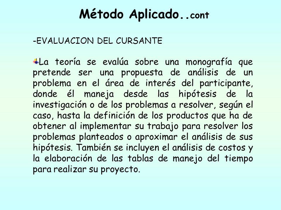 Método Aplicado.. cont -EVALUACION DEL CURSANTE La teoría se evalúa sobre una monografía que pretende ser una propuesta de análisis de un problema en
