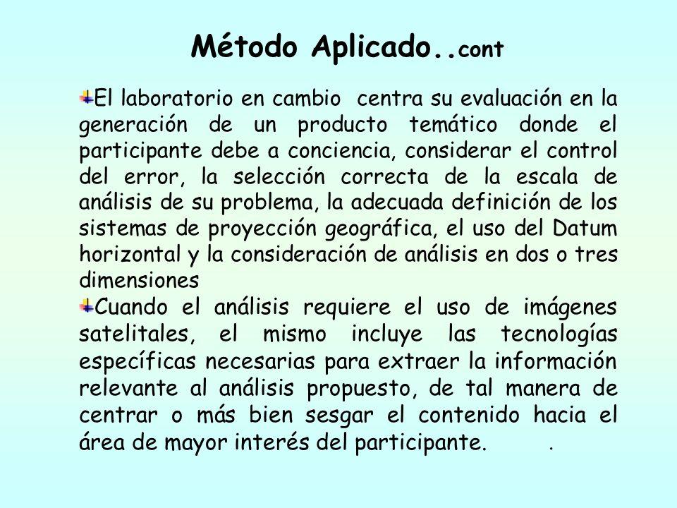 Método Aplicado.. cont El laboratorio en cambio centra su evaluación en la generación de un producto temático donde el participante debe a conciencia,